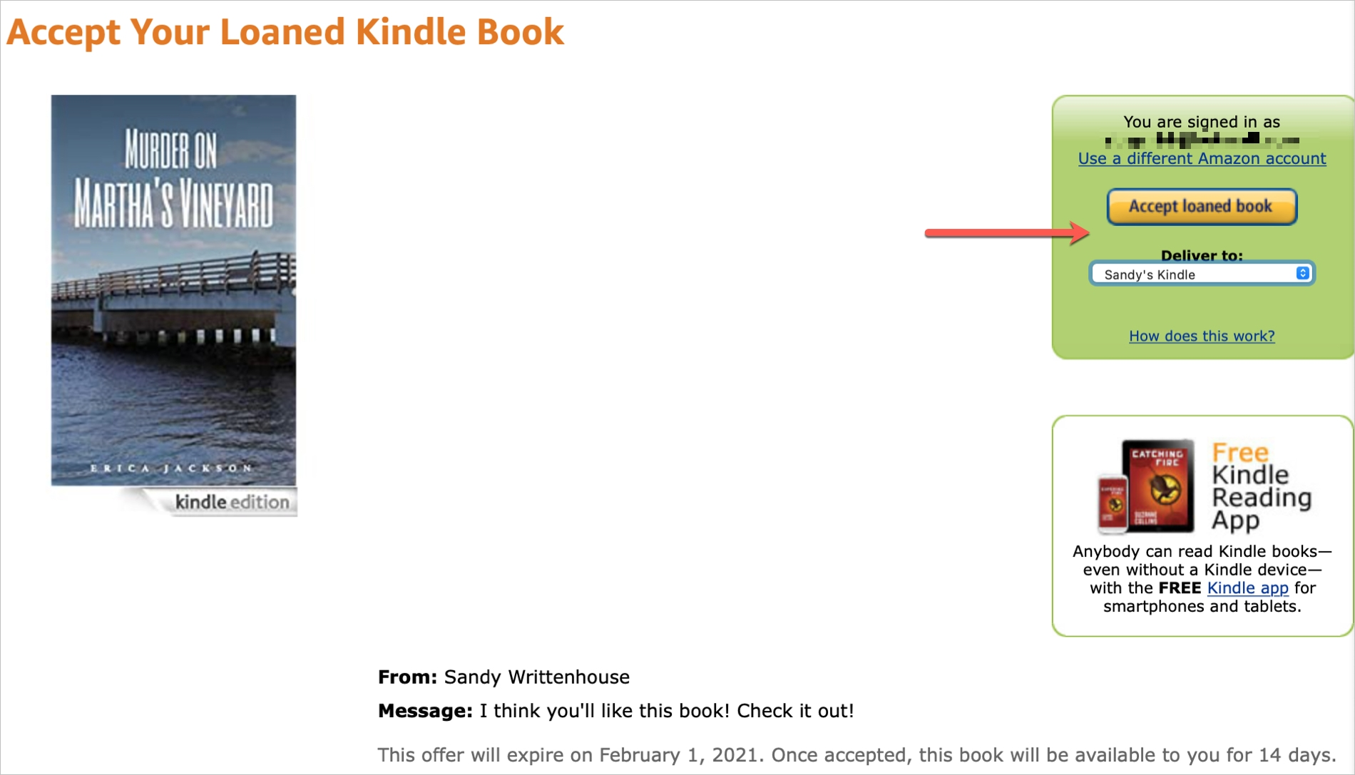 Amazon Kindle Accept Loaned Book
