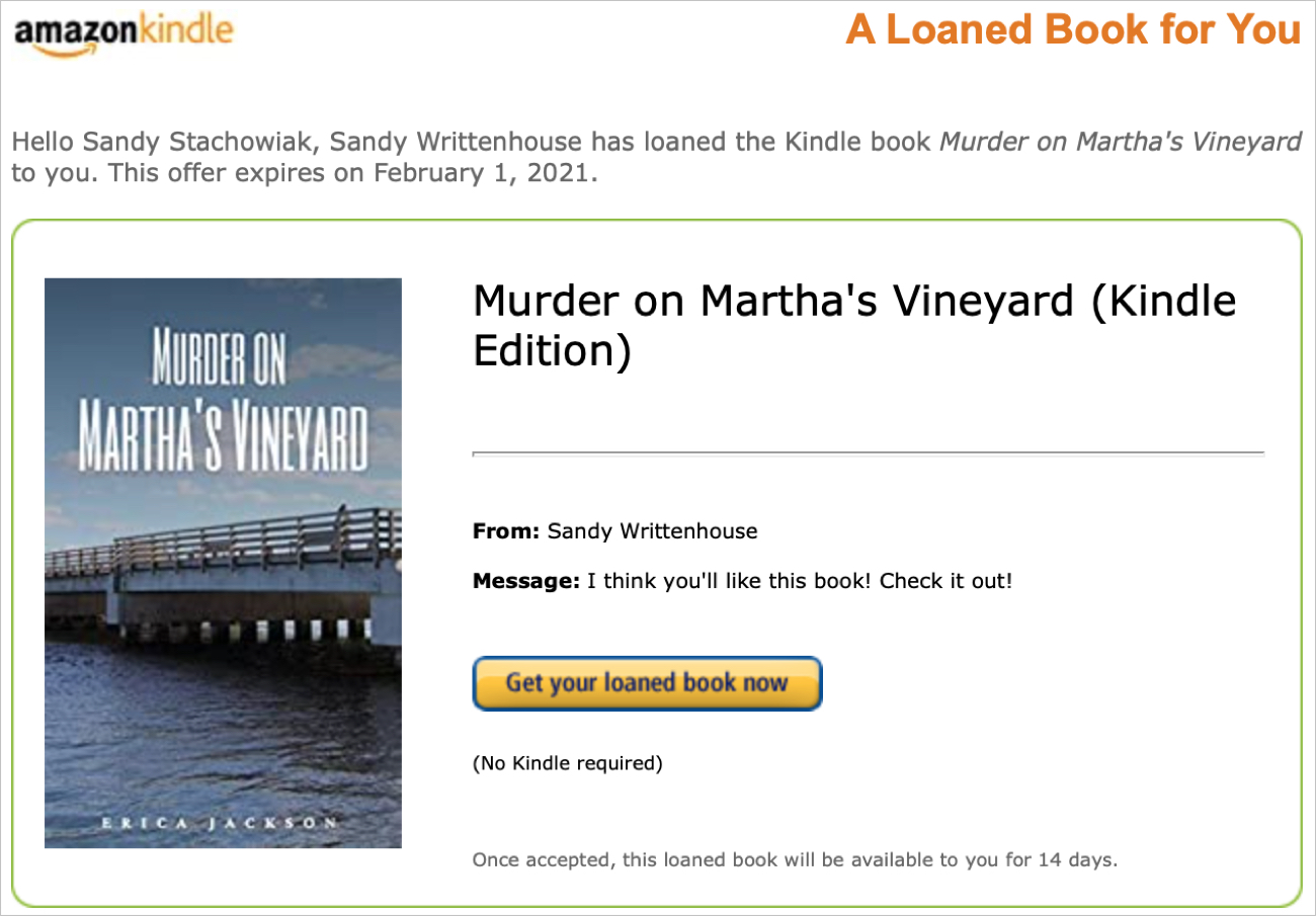 Amazon Kindle Email for Loaned Book