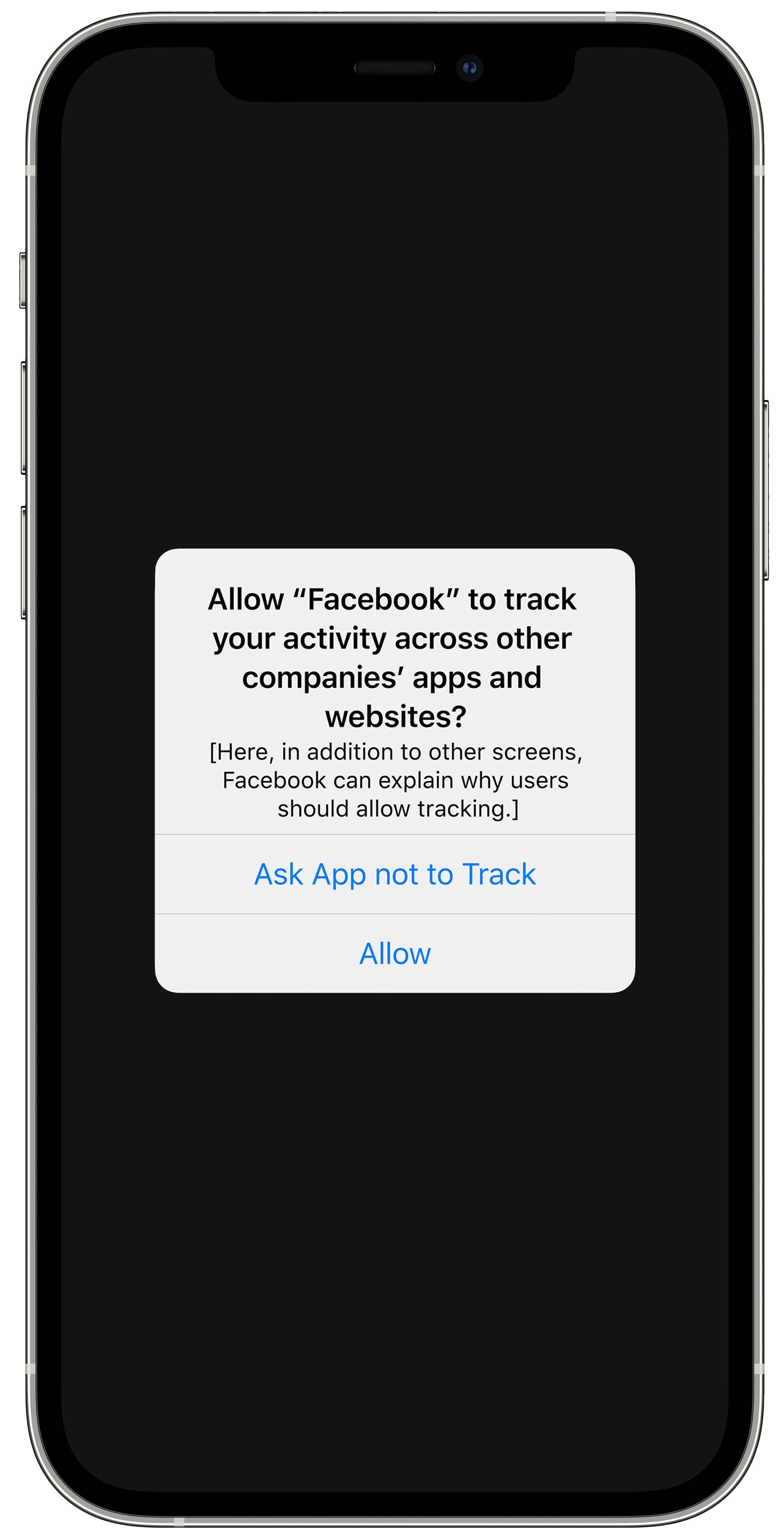 An iPhone displaying an app tracking prompt seeking permission to allow Facebook to track user activity