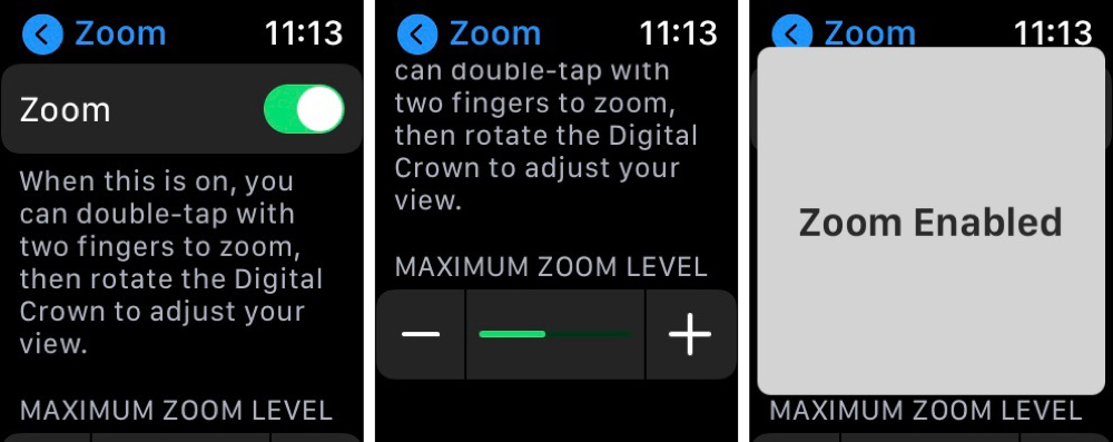 Apple Watch Accessibility Zoom On