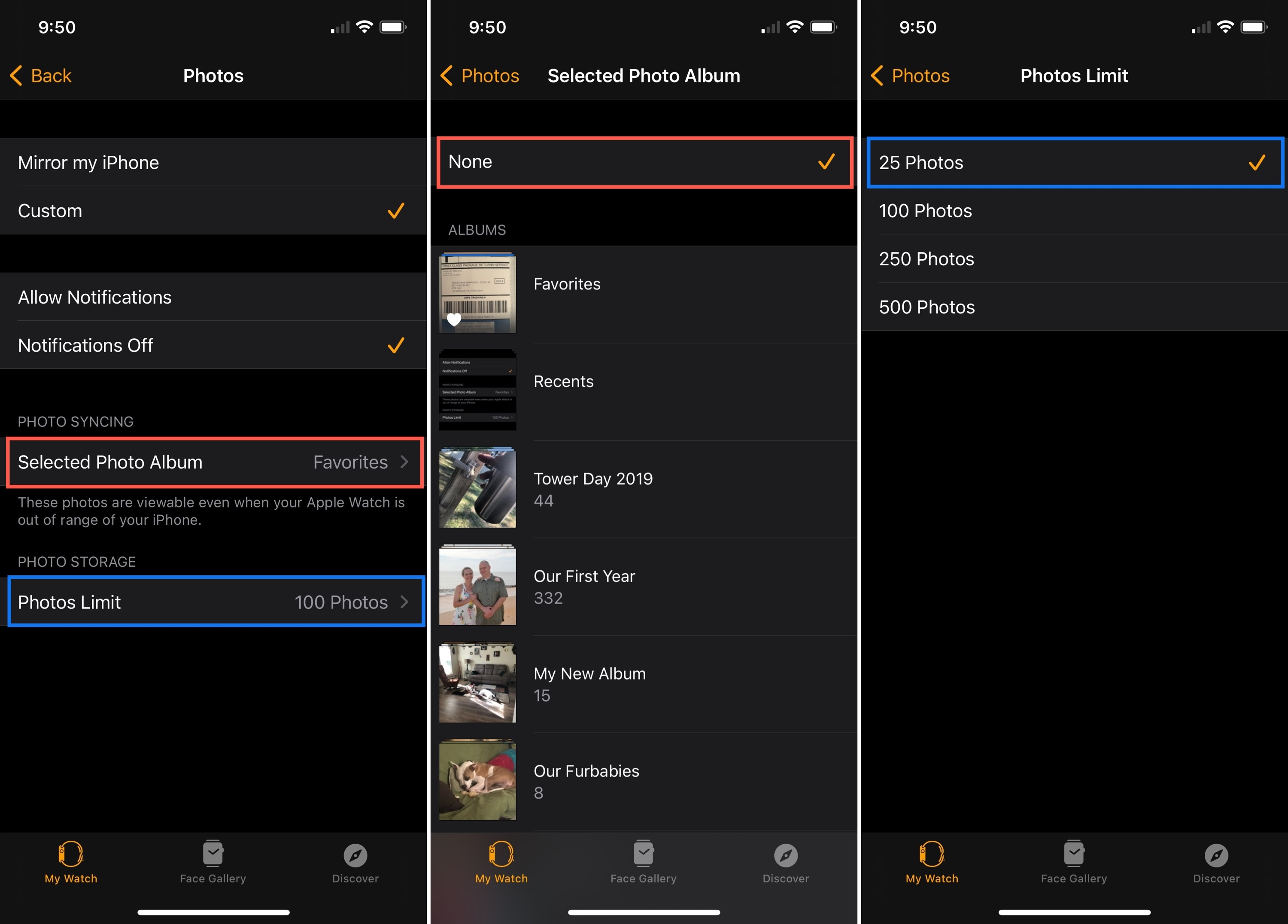 Apple Watch Change Photos Syncing Limits