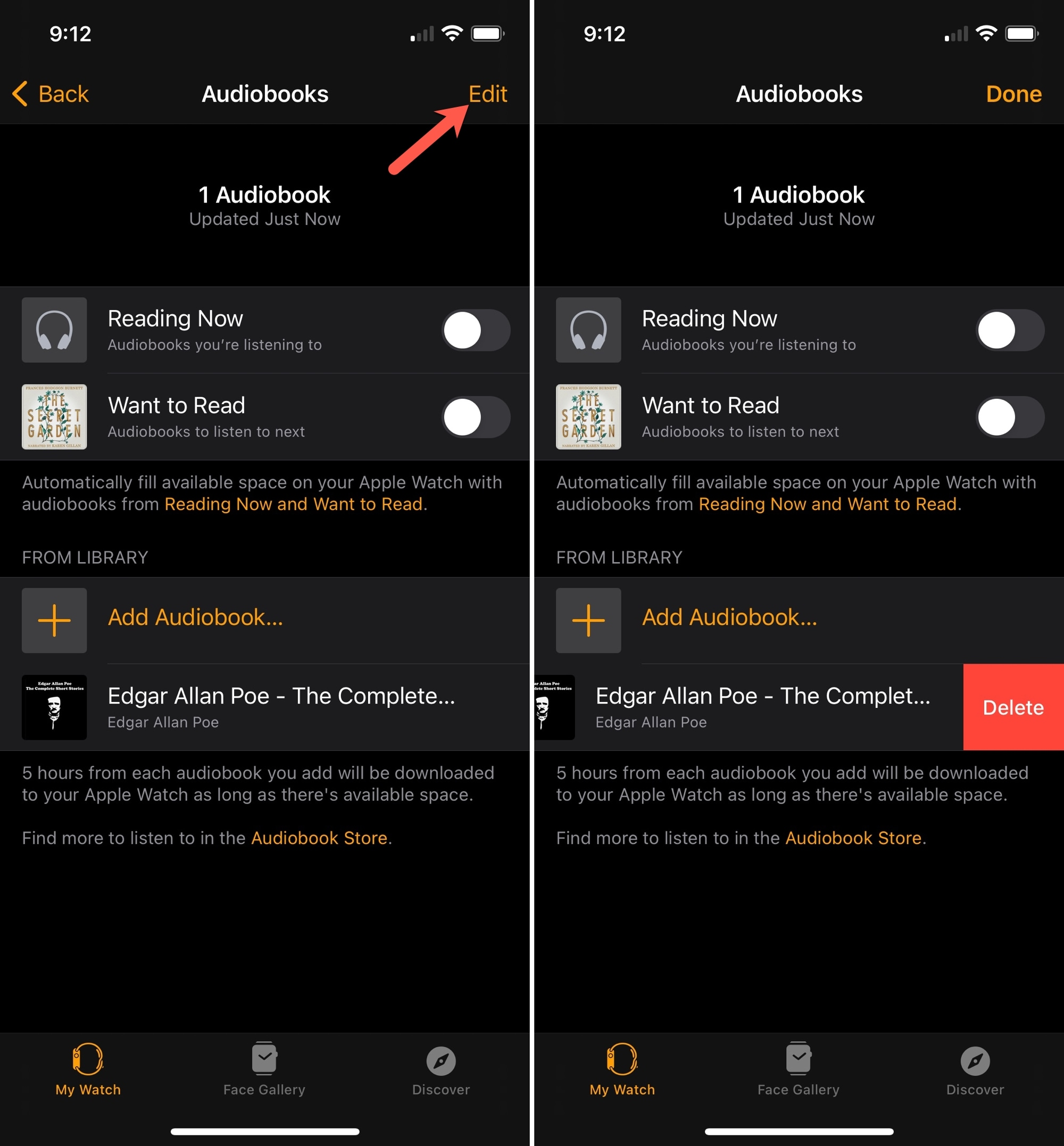 Apple Watch Remove Audiobooks