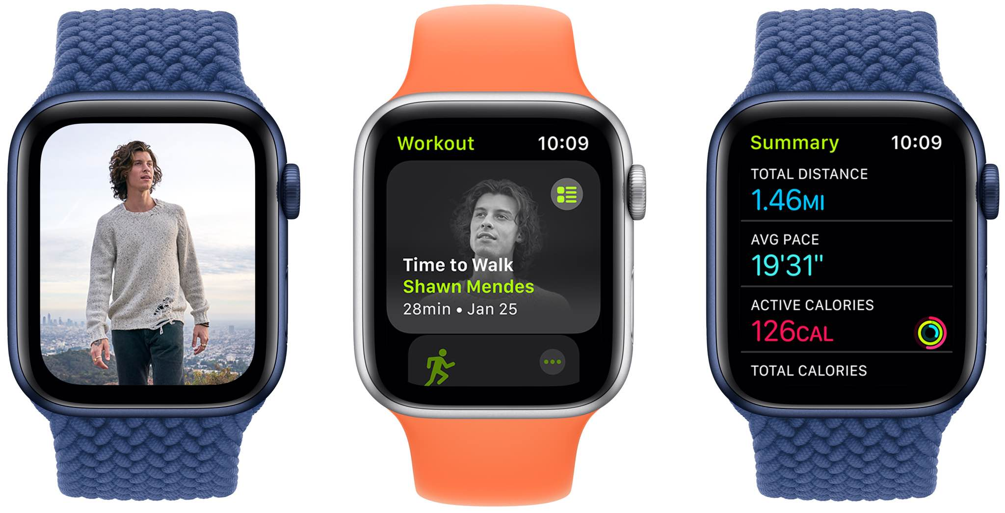 Apple Watch screenshots showing the Time to Walk audio walking session with Shawn Mendes