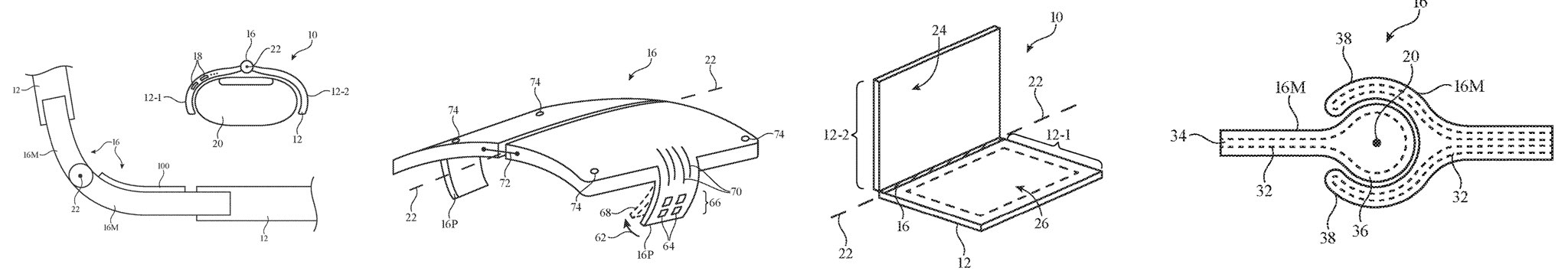 Apple's foldable iPhone patent drawing showing various solutions for making stronger hinges