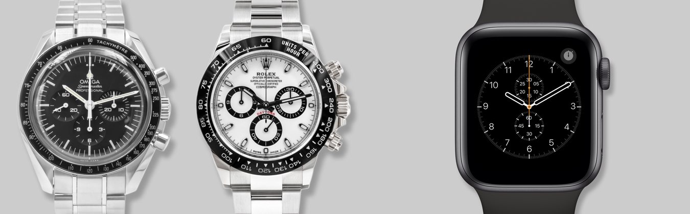 An example image showing Omega's Speedmaster Professional and Rolex's Cosmograph Daytona watches next to an Apple Watch with the Chronograph watch face