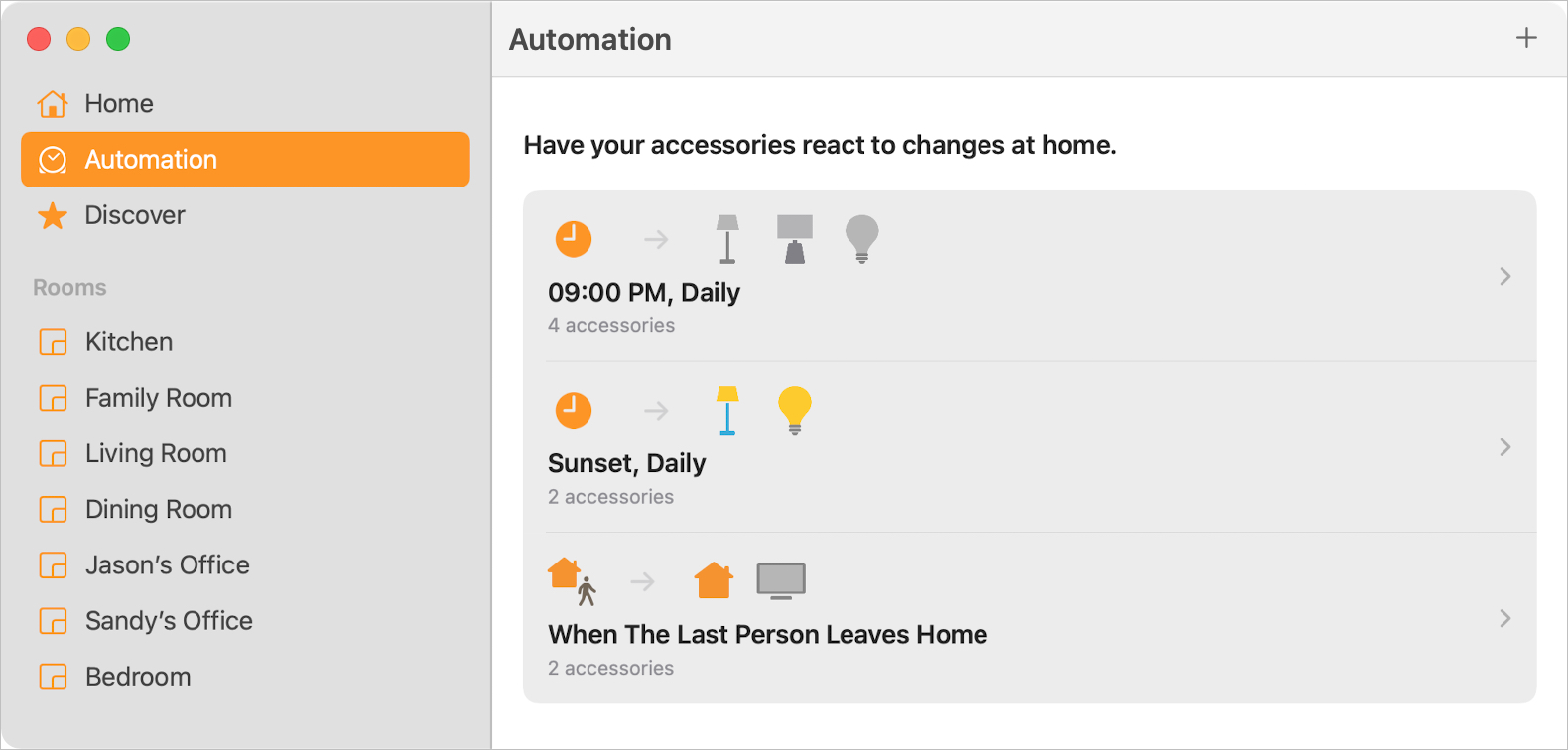 Automation Section of the Home app on Mac