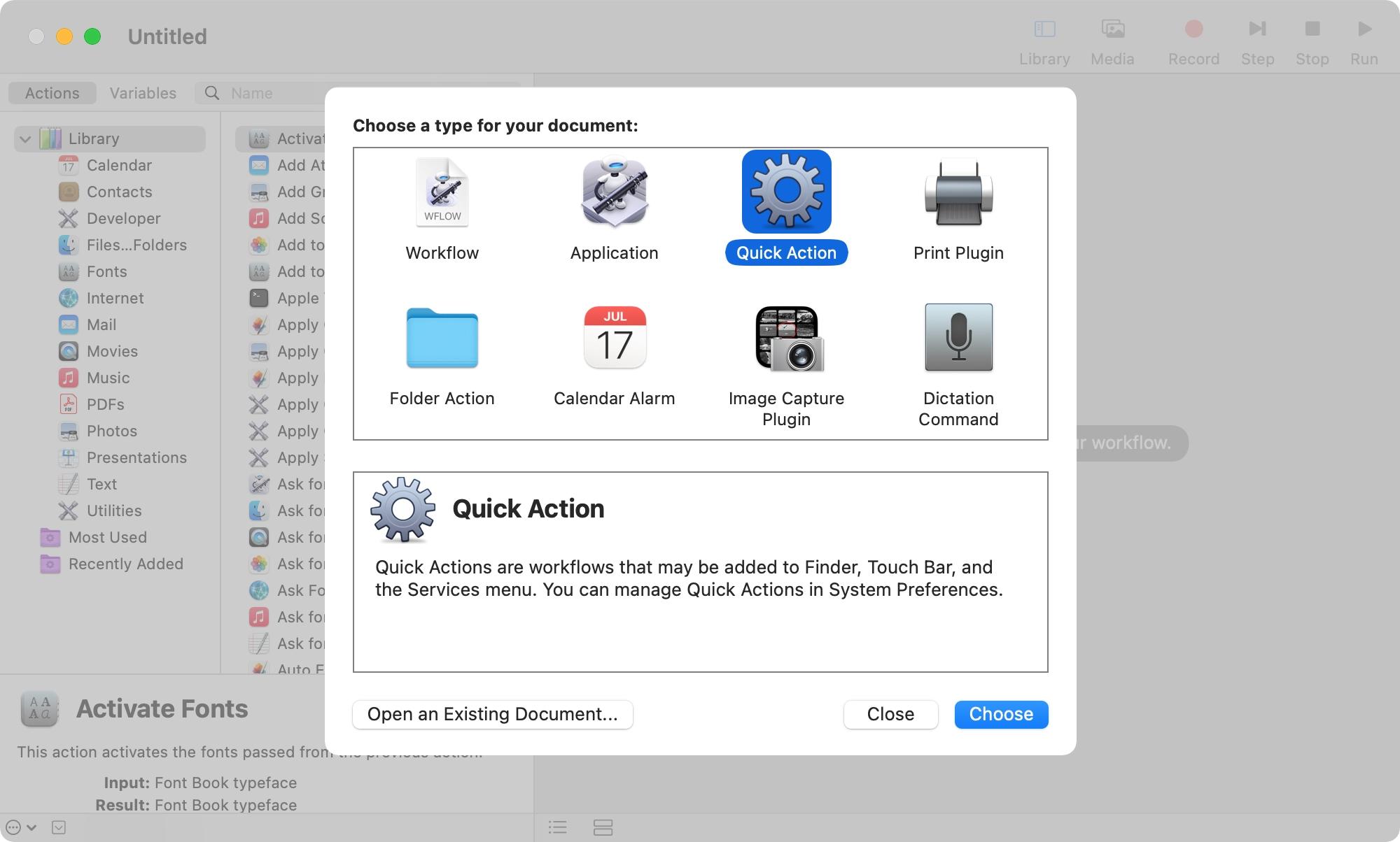 Automator New Document Quick Action