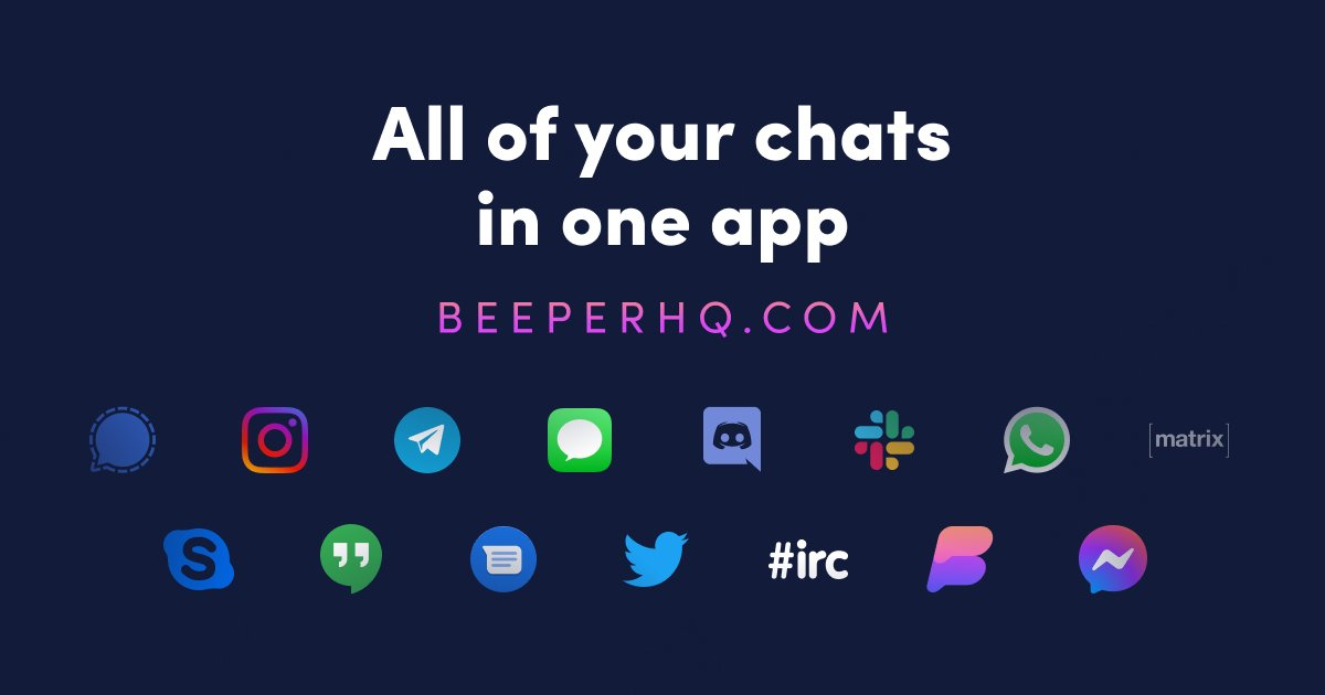An image showing chat platforms supported by the Beeper service, formerly Nova Chat