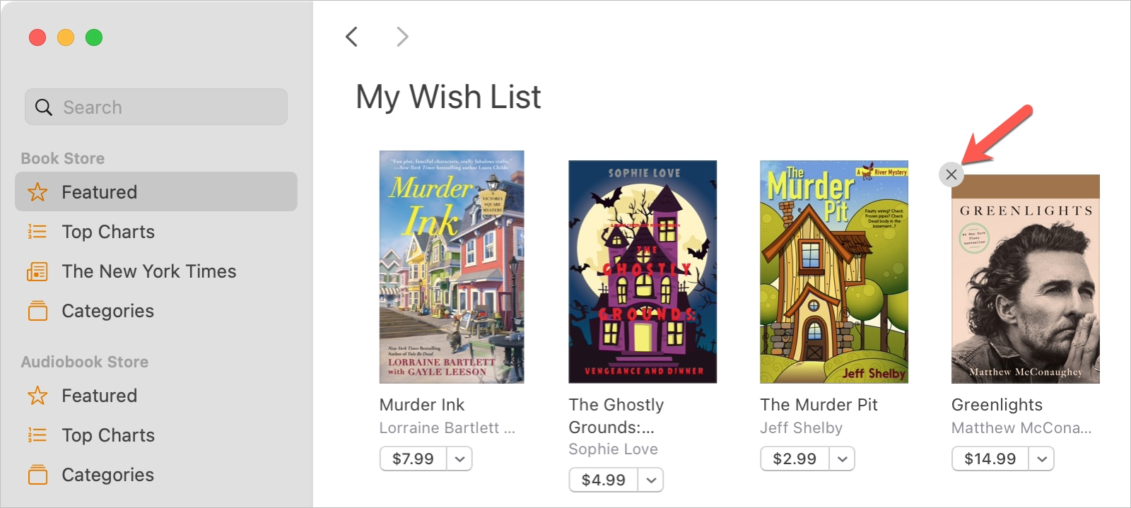 Books on Mac Remove from Wish List
