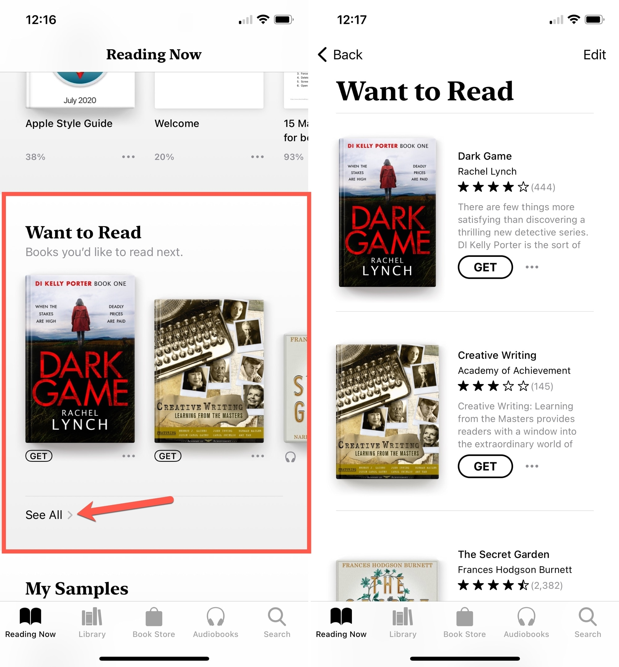 Books on iPhone See All in Want to Read