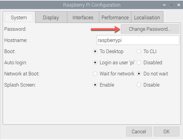 Change Raspberry Pi Password in Configuration
