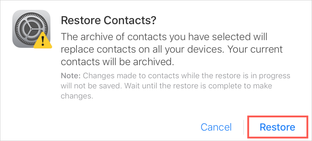 Confirm Restore Contacts on iCloud