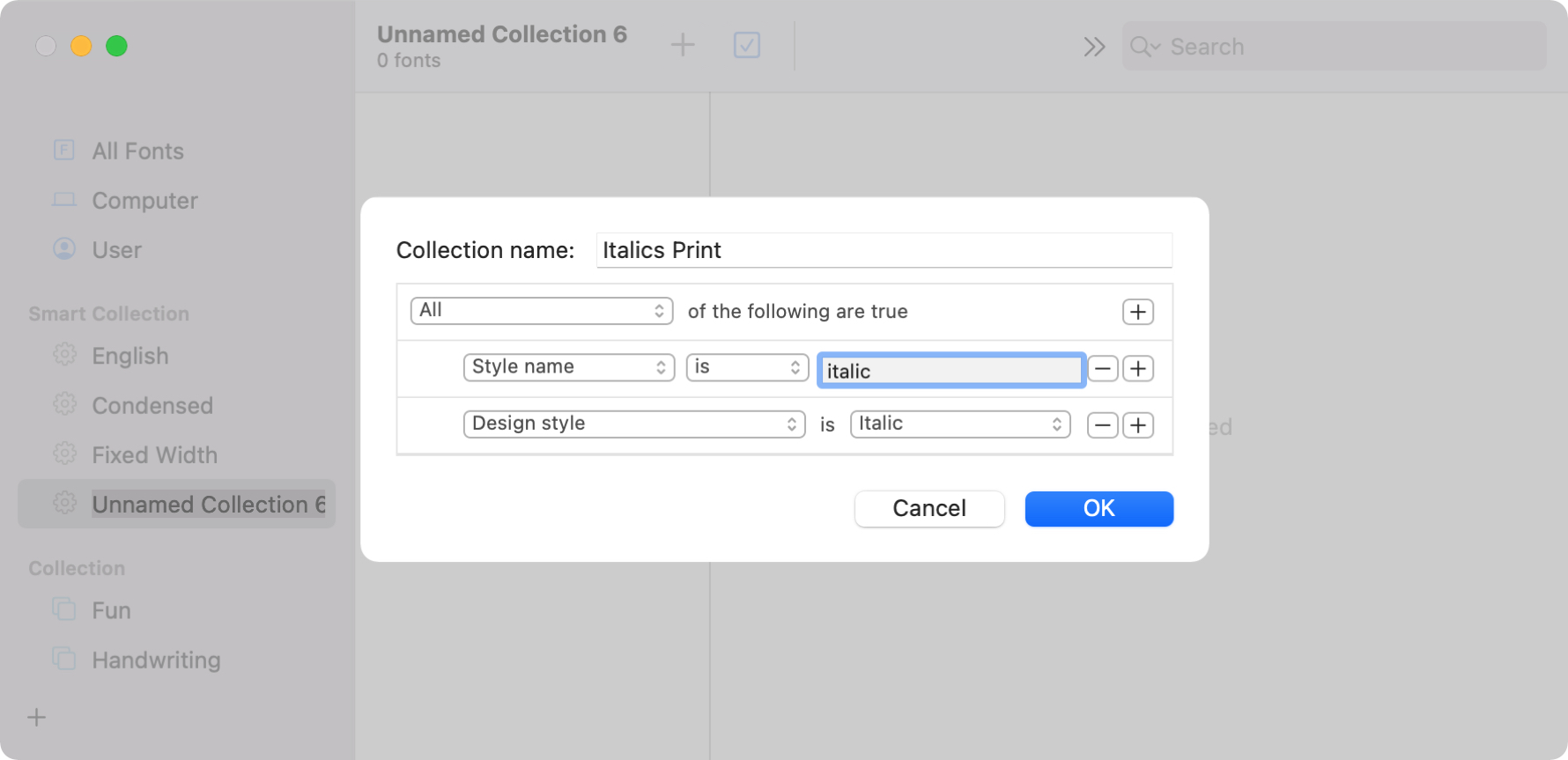 Create Smart Collection on Mac