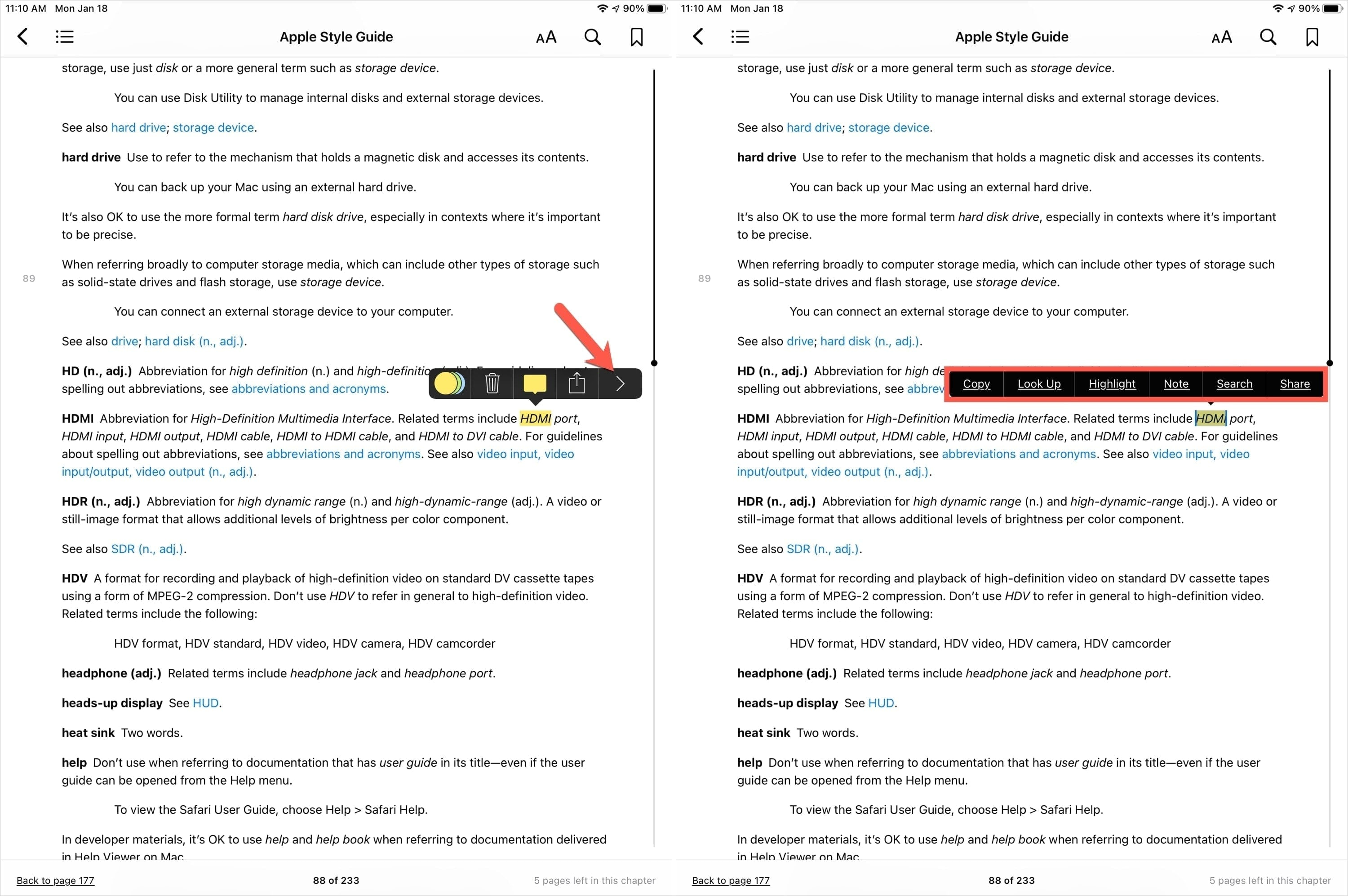 Expand the Toolbar in Books with Apple Pencil