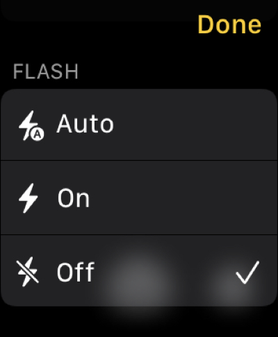 Flash in Camera Remote on Apple Watch