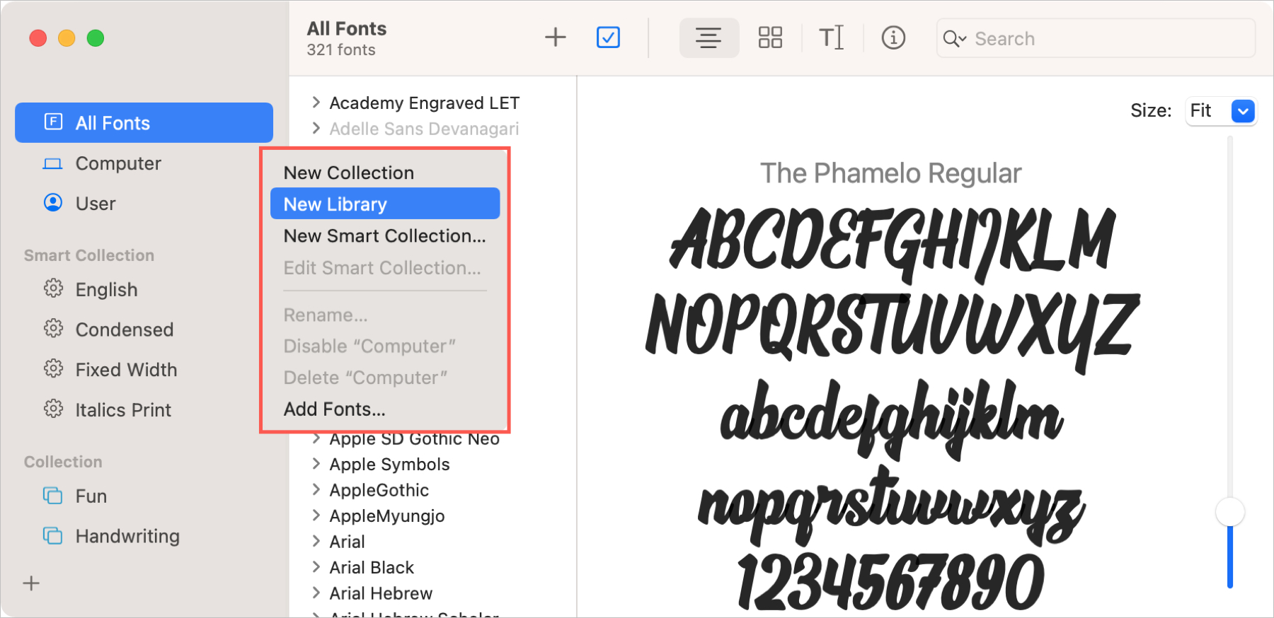 Font Book New Library