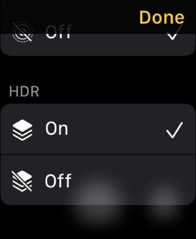 HDR in Camera Remote on Apple Watch