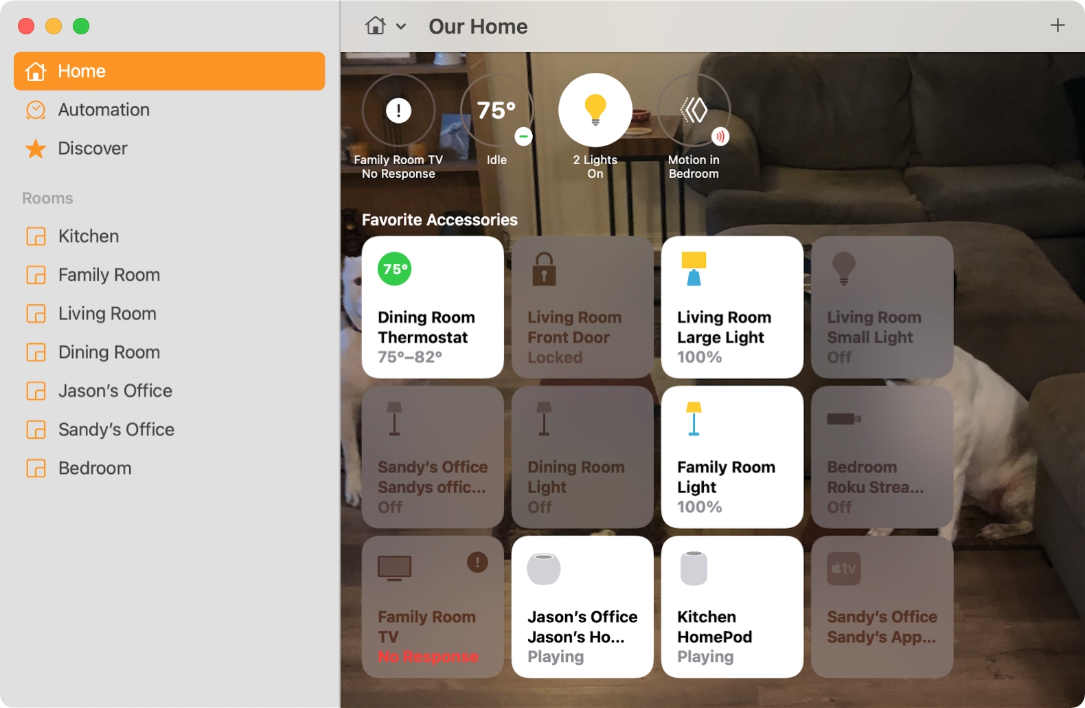 Home Section of the Home app on Mac