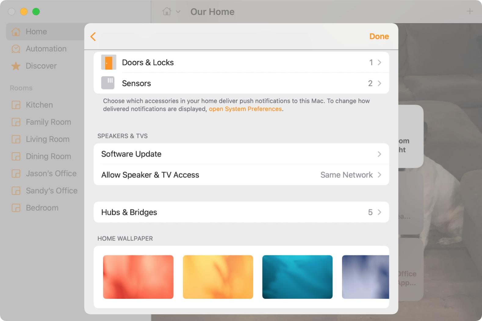 Home Settings in Home on Mac