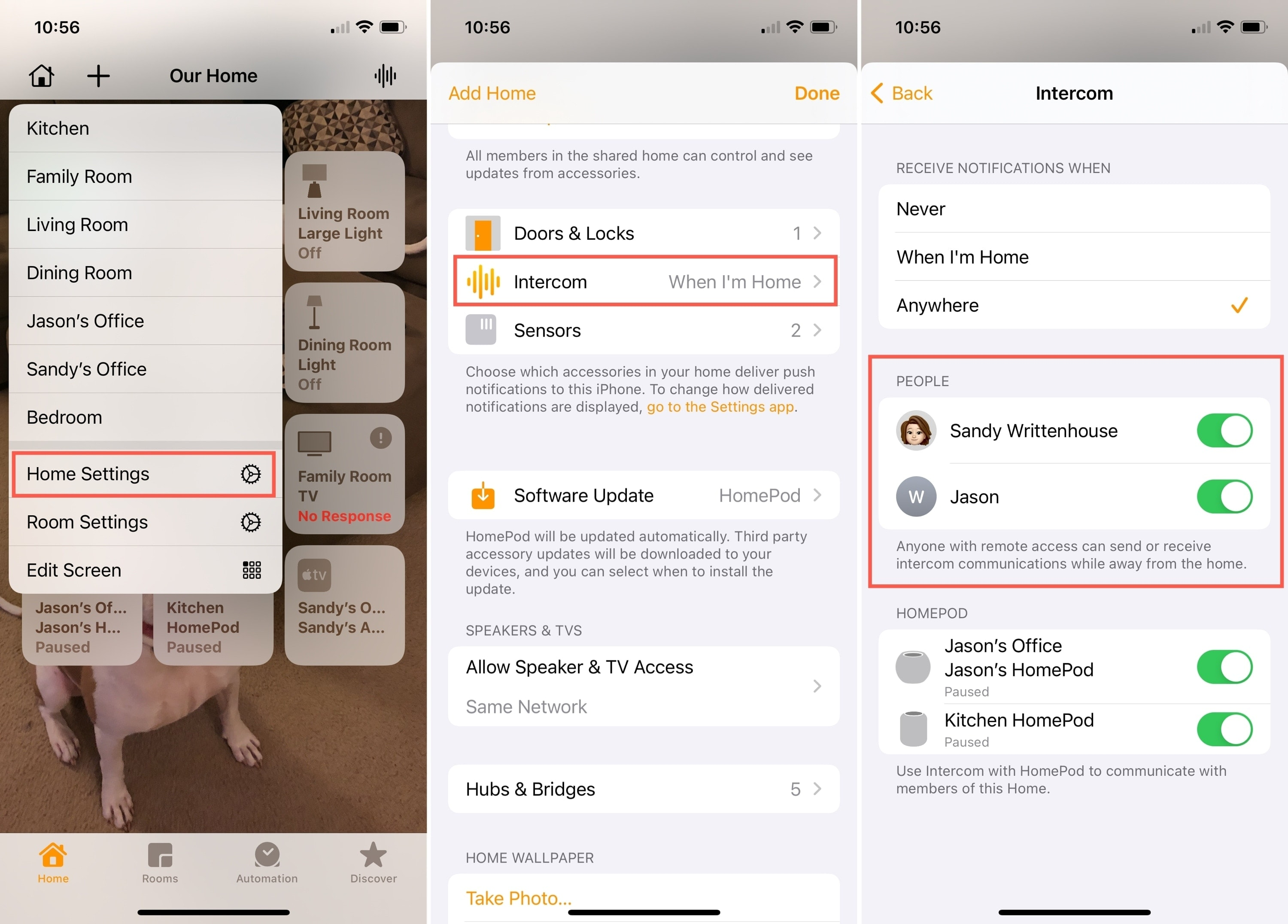 Home Settings for Intercom People on iPhone