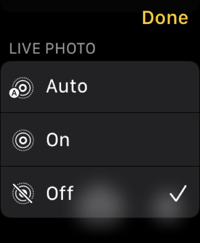Live Photo in Camera Remote on Apple Watch