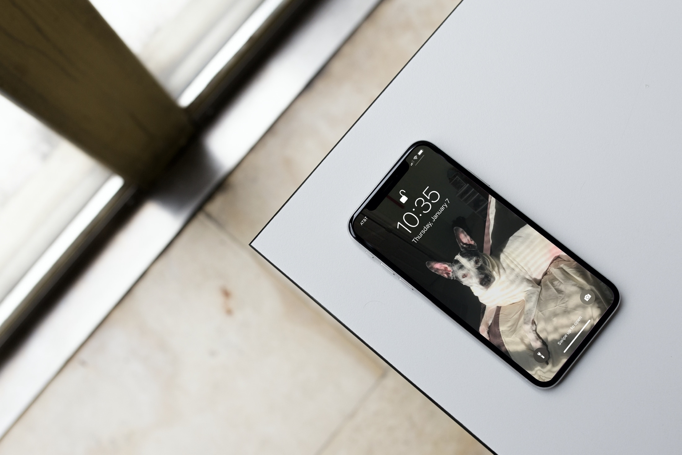 Lock Screen on iPhone 12 on Table