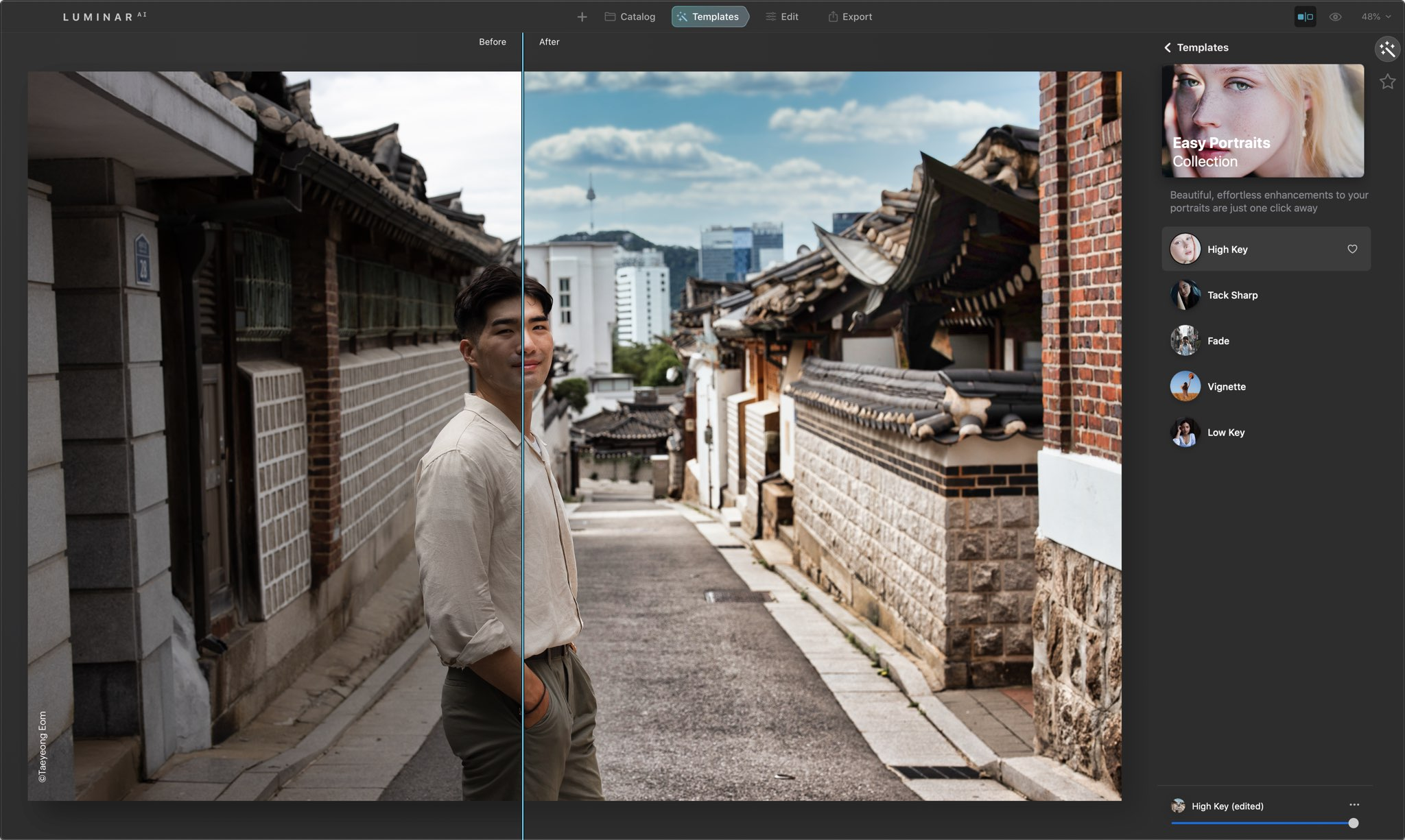 Edit portraits in Luminar for Mac and Windows - before and after