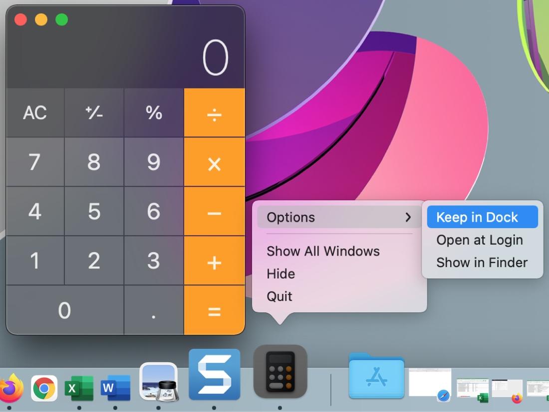 Mac Calculator Keep in Dock