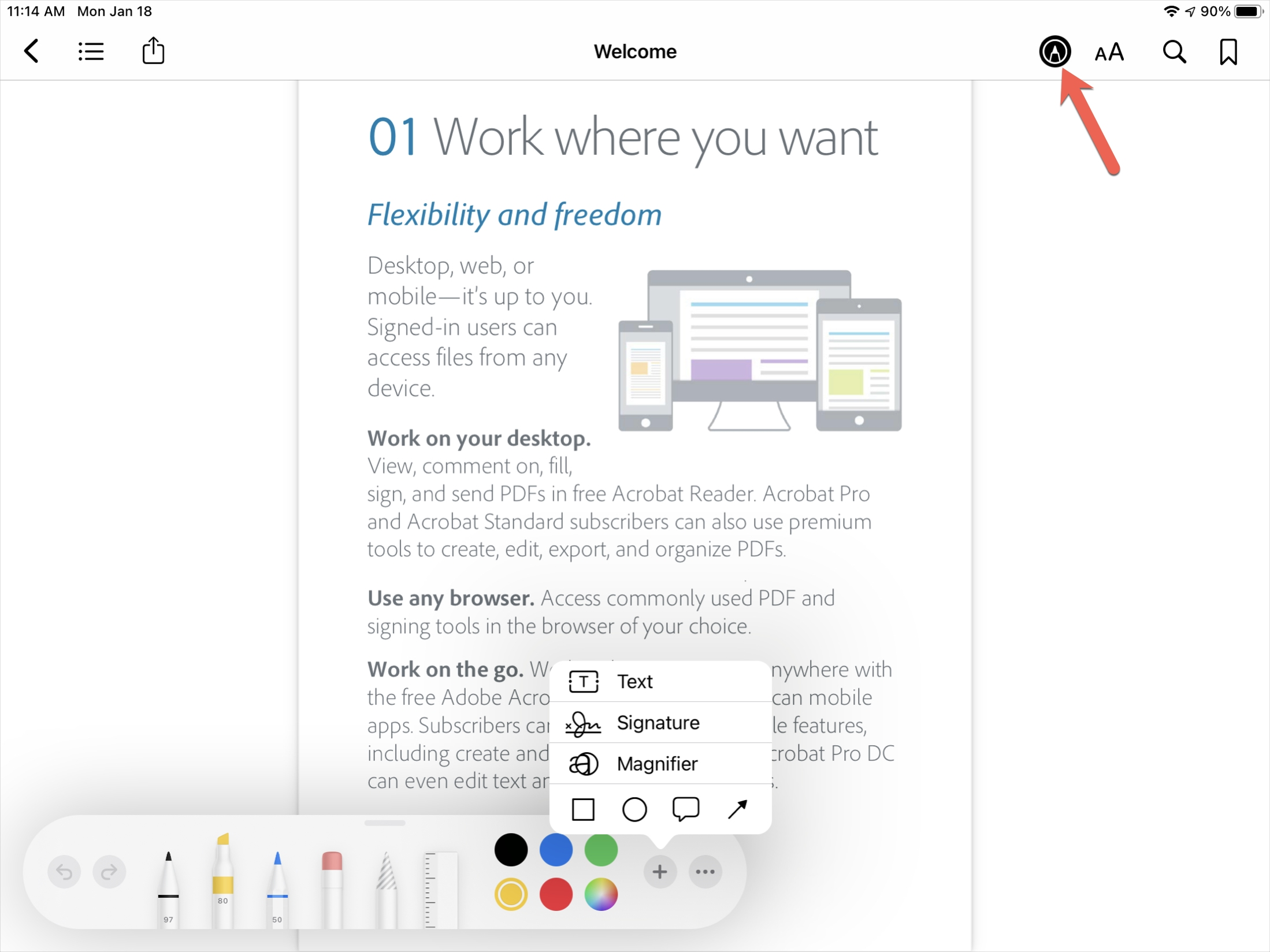 Markup a PDF in Books with Apple Pencil