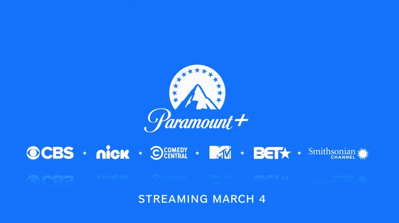 A An illustration showing a Paramount+ logo set against a blue background