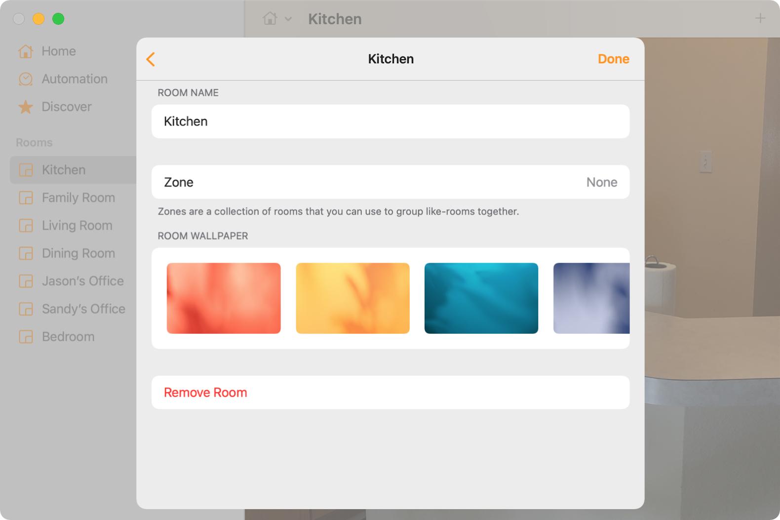 Room Settings in Home on Mac