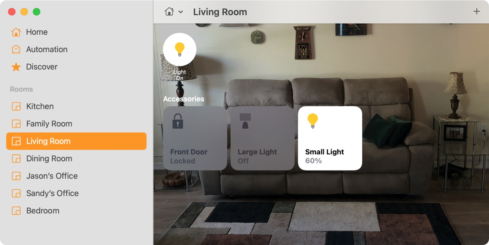 Rooms Section of the Home app on Mac