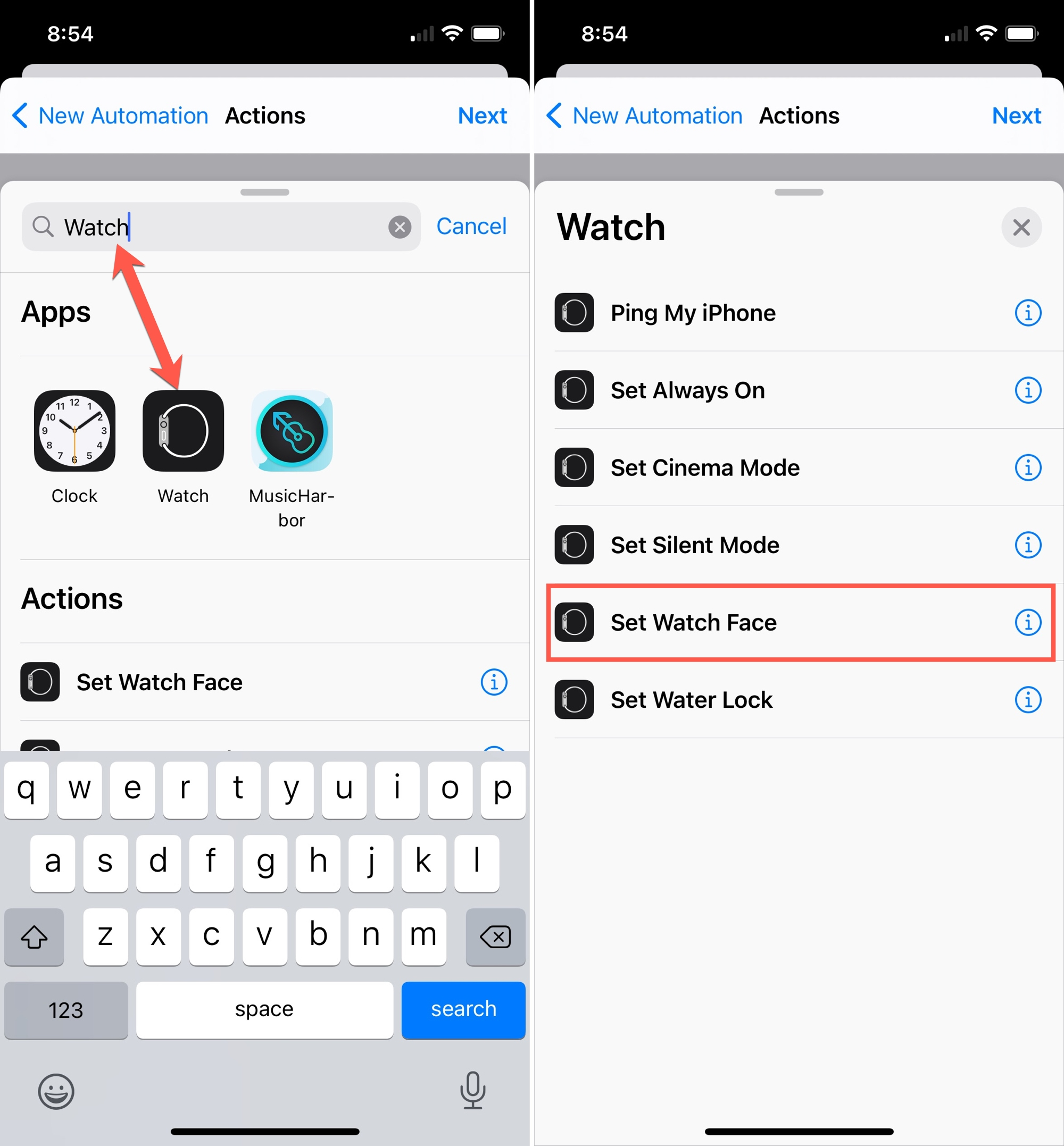 Search Watch Automation in Shortcuts