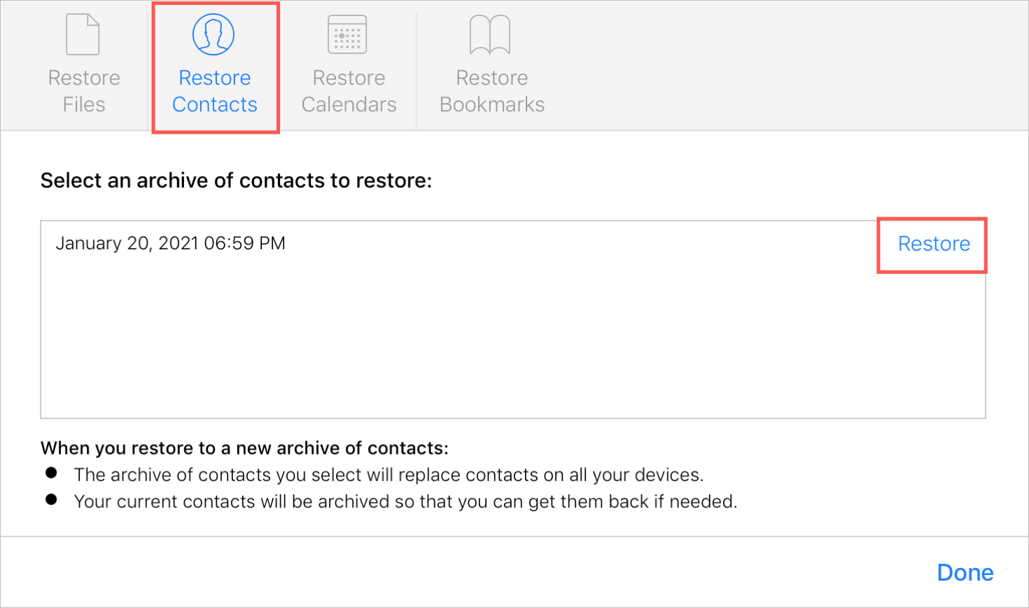 Select Archive to Restore Contacts on iCloud