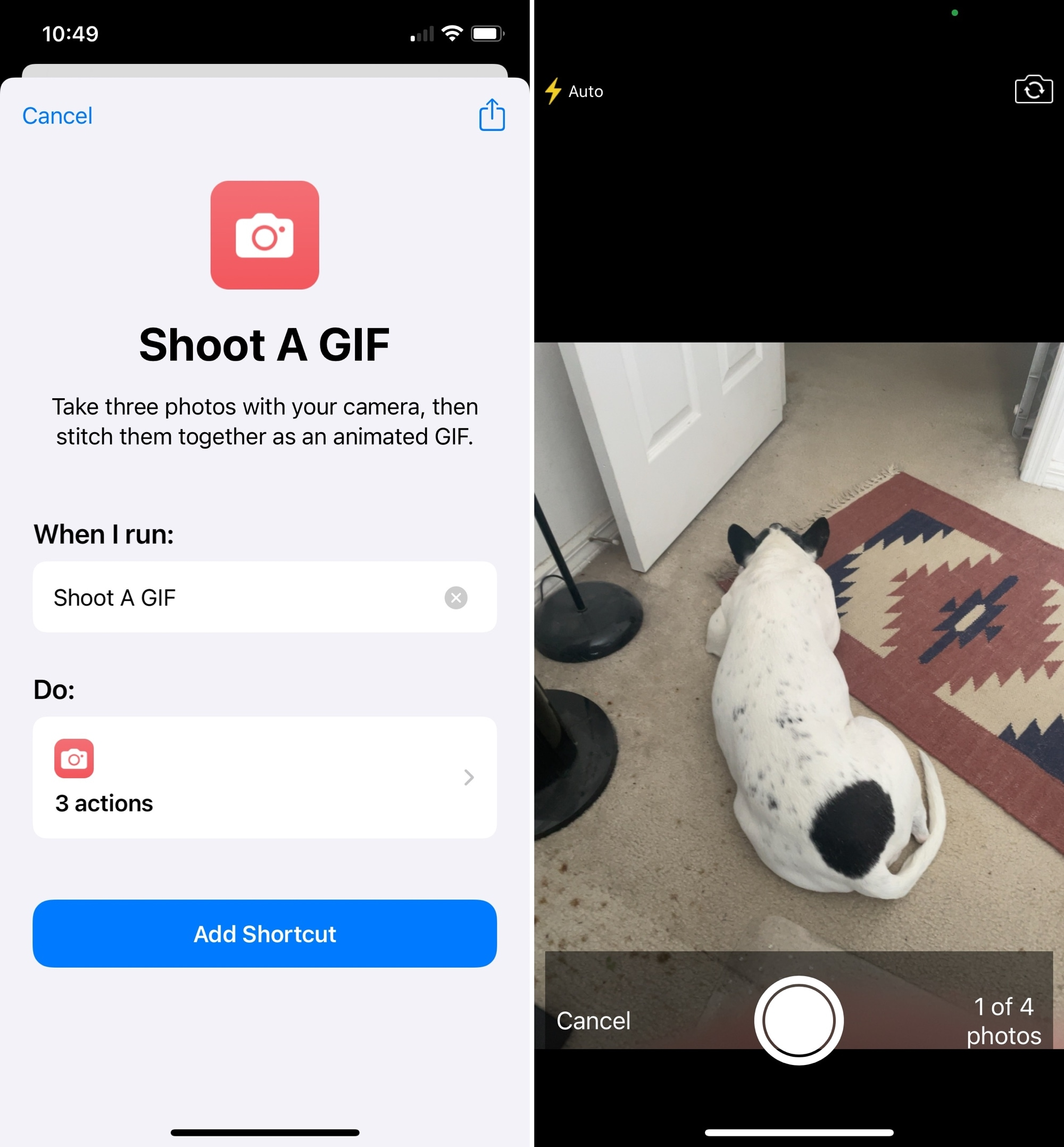 Shoot a GIF in Shortcuts on iPhone