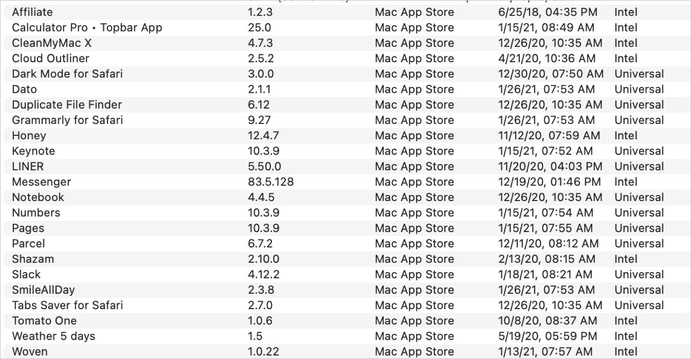 System Information Screenshot of Installed Applications List