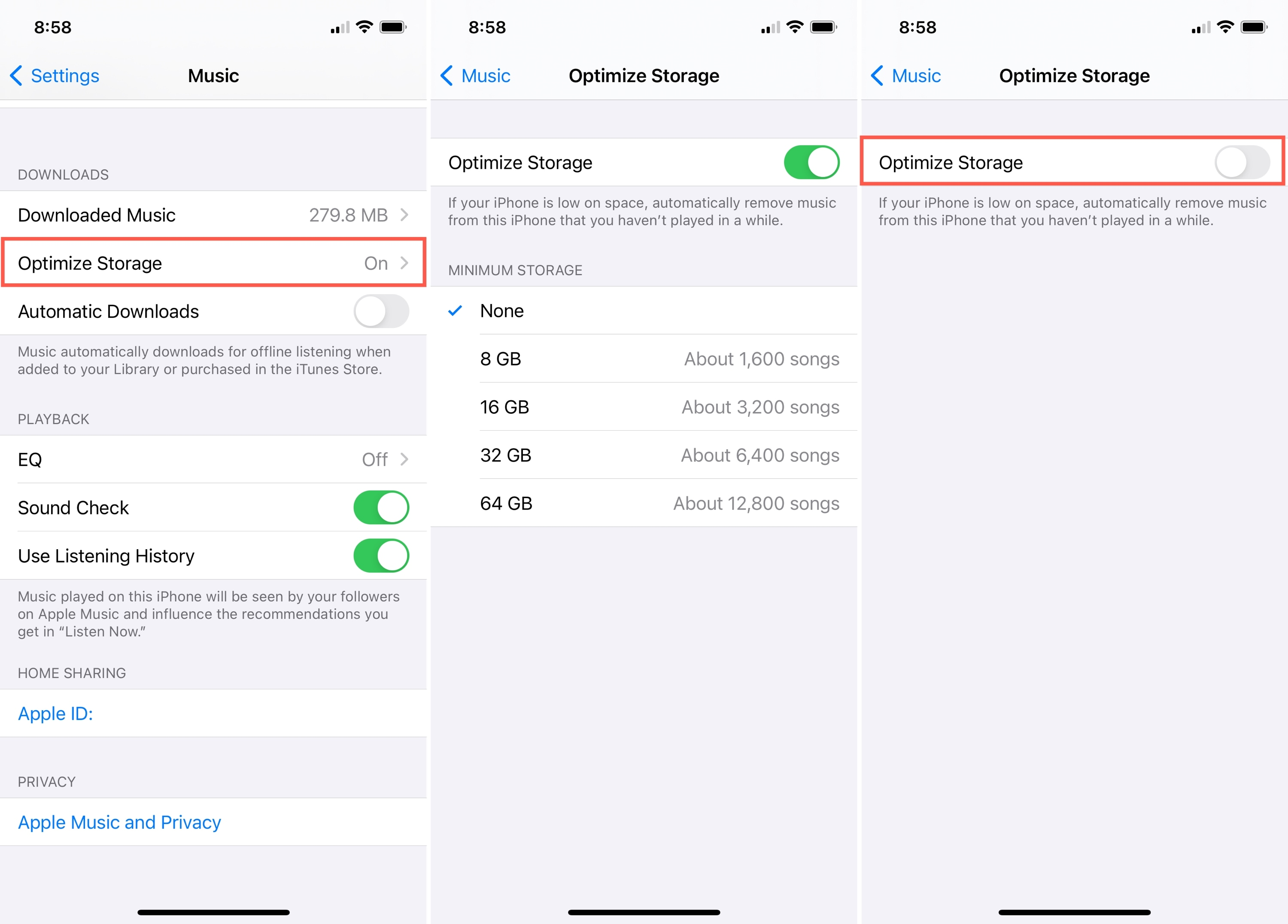 Turn Off Optimize Storage for Music on iPhone