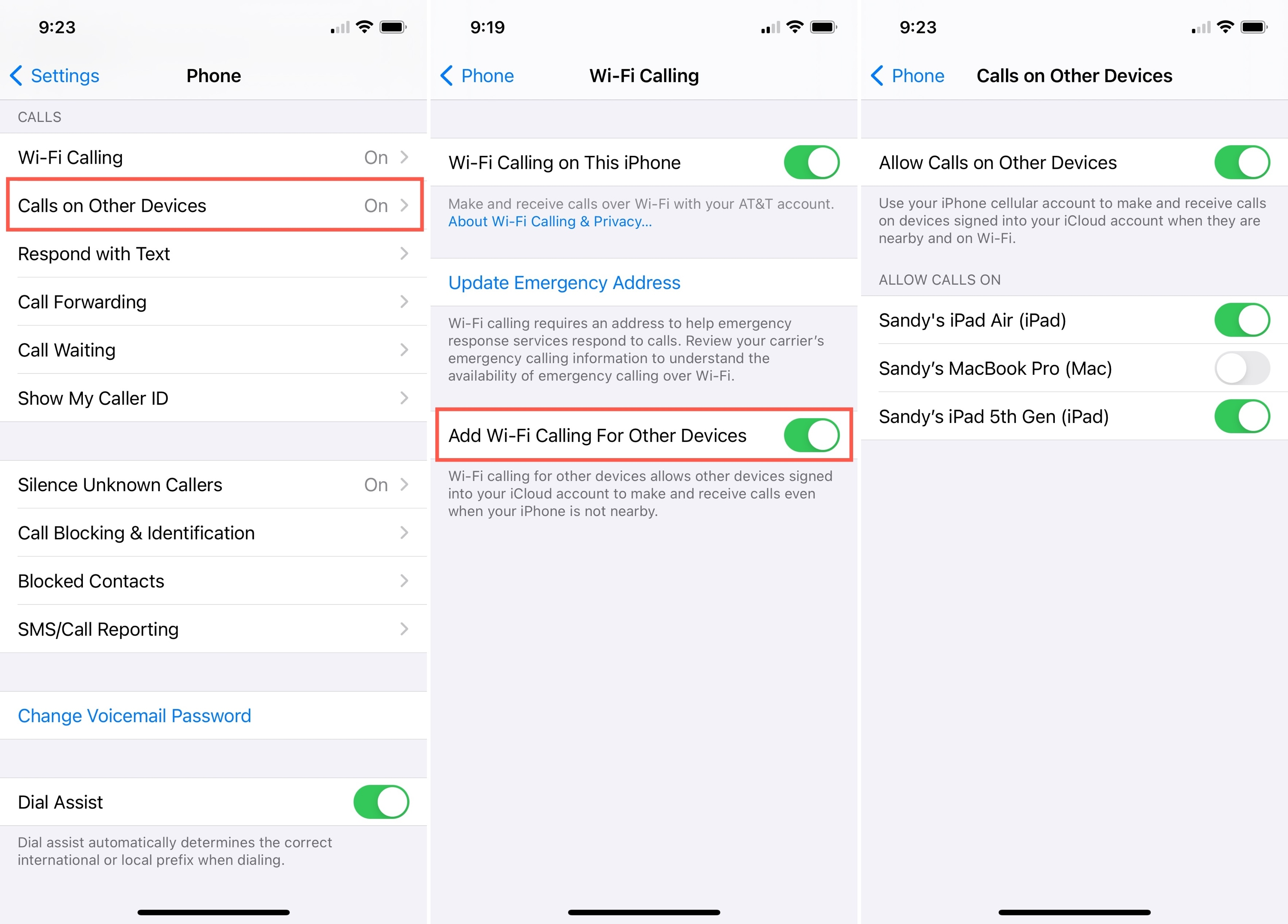 Turn on Wi-Fi Calling For Other Devices