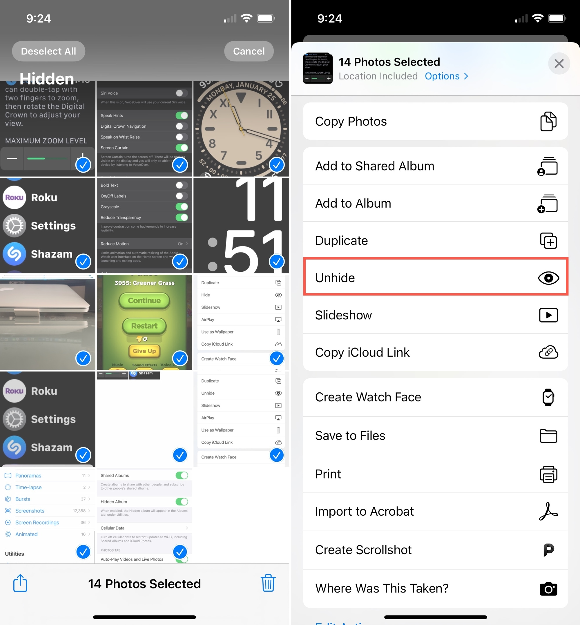 Unhide Multiple Photos on iPhone