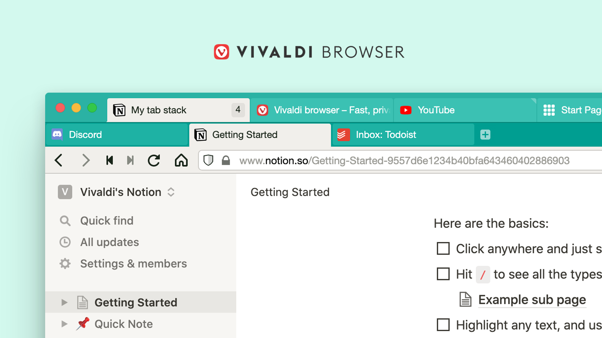 A teaser image promoting the tab stacks feature in the Vivaldi web browser