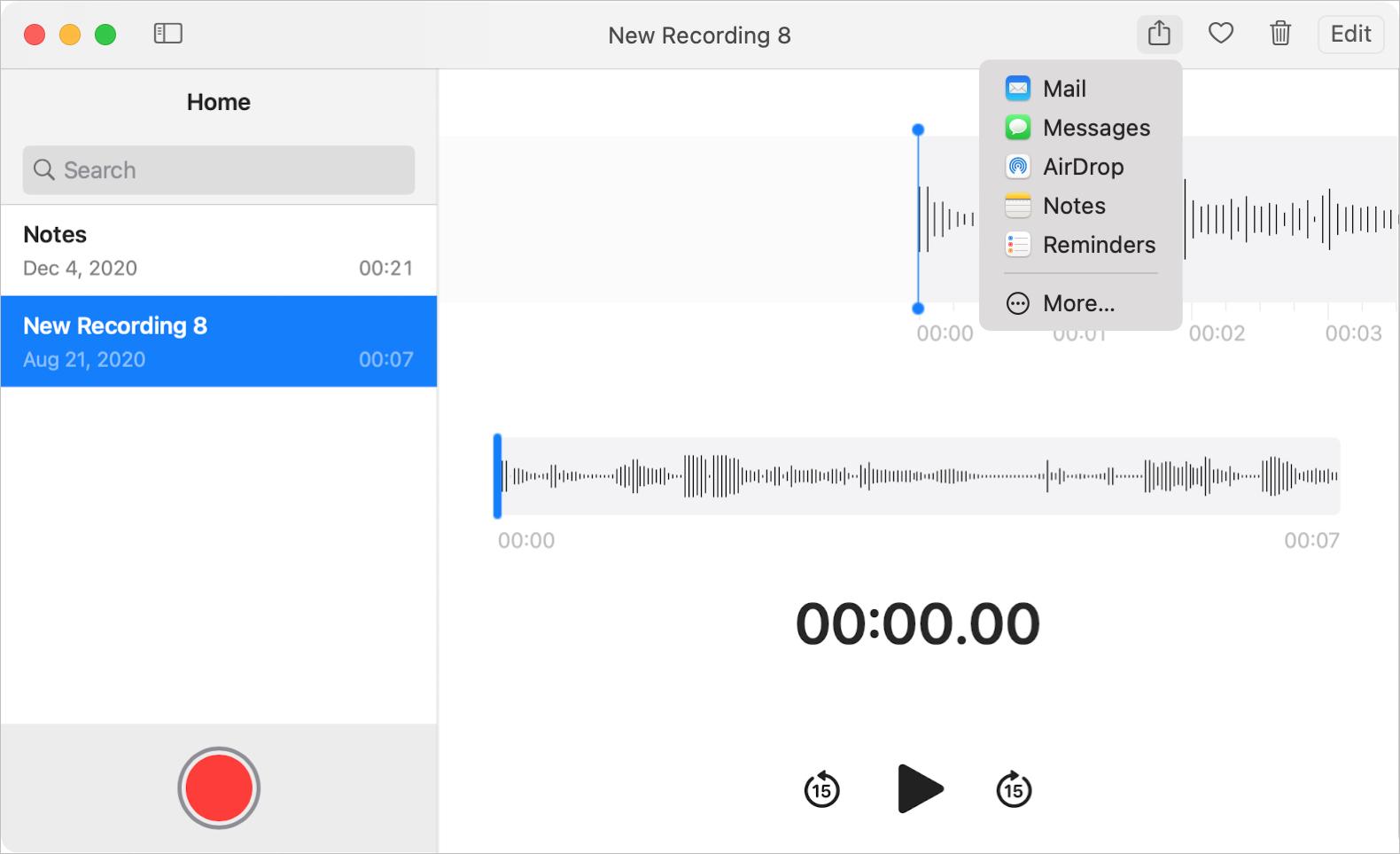 Voice Memos Share Menu on Mac