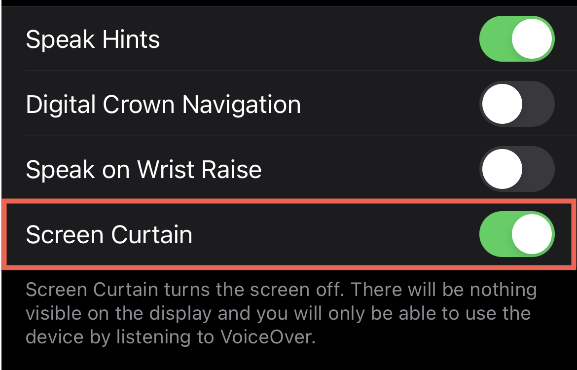 Watch Accessibility Screen Curtain On