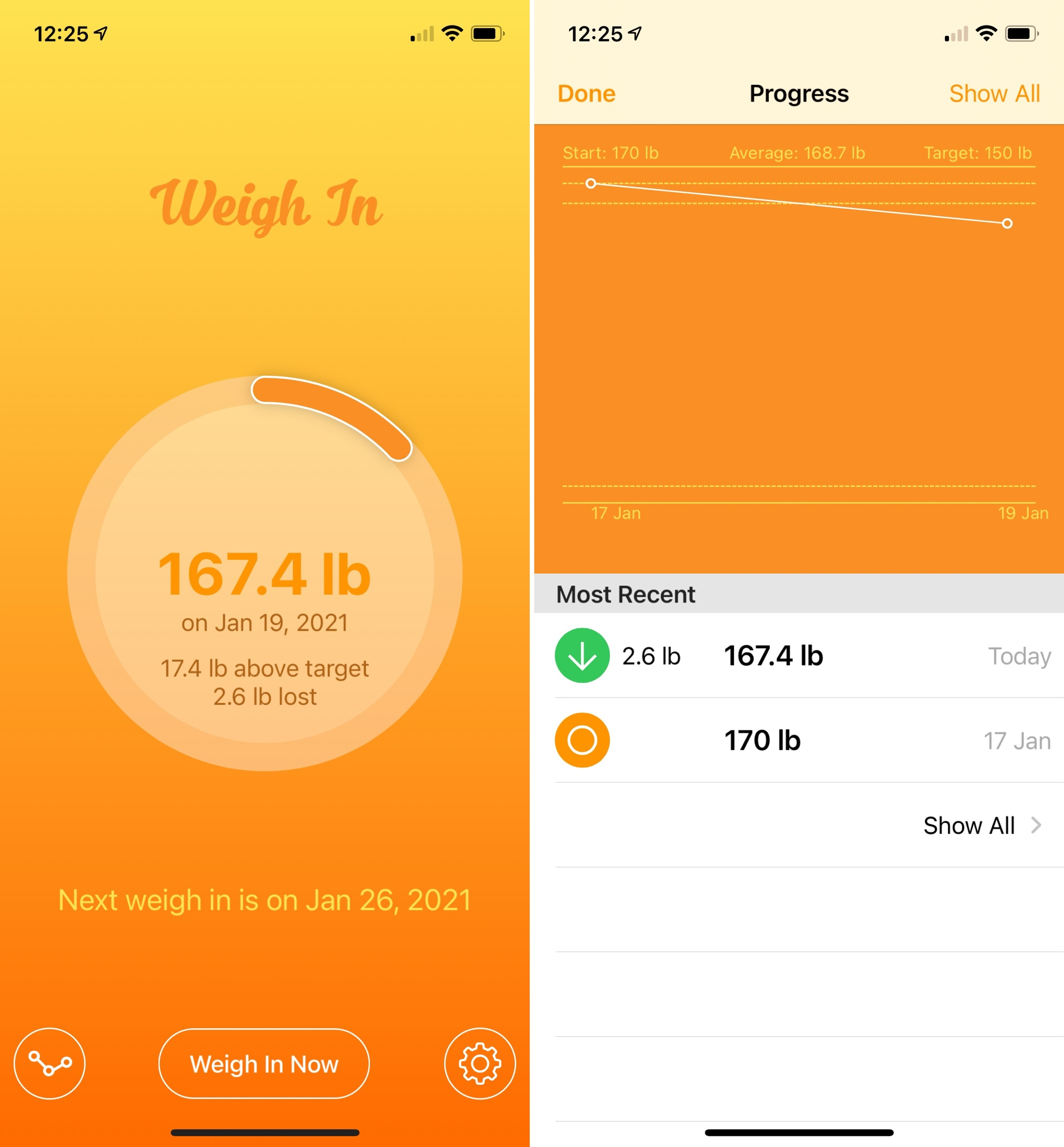 Weigh In - Weight Tracker on iPhone
