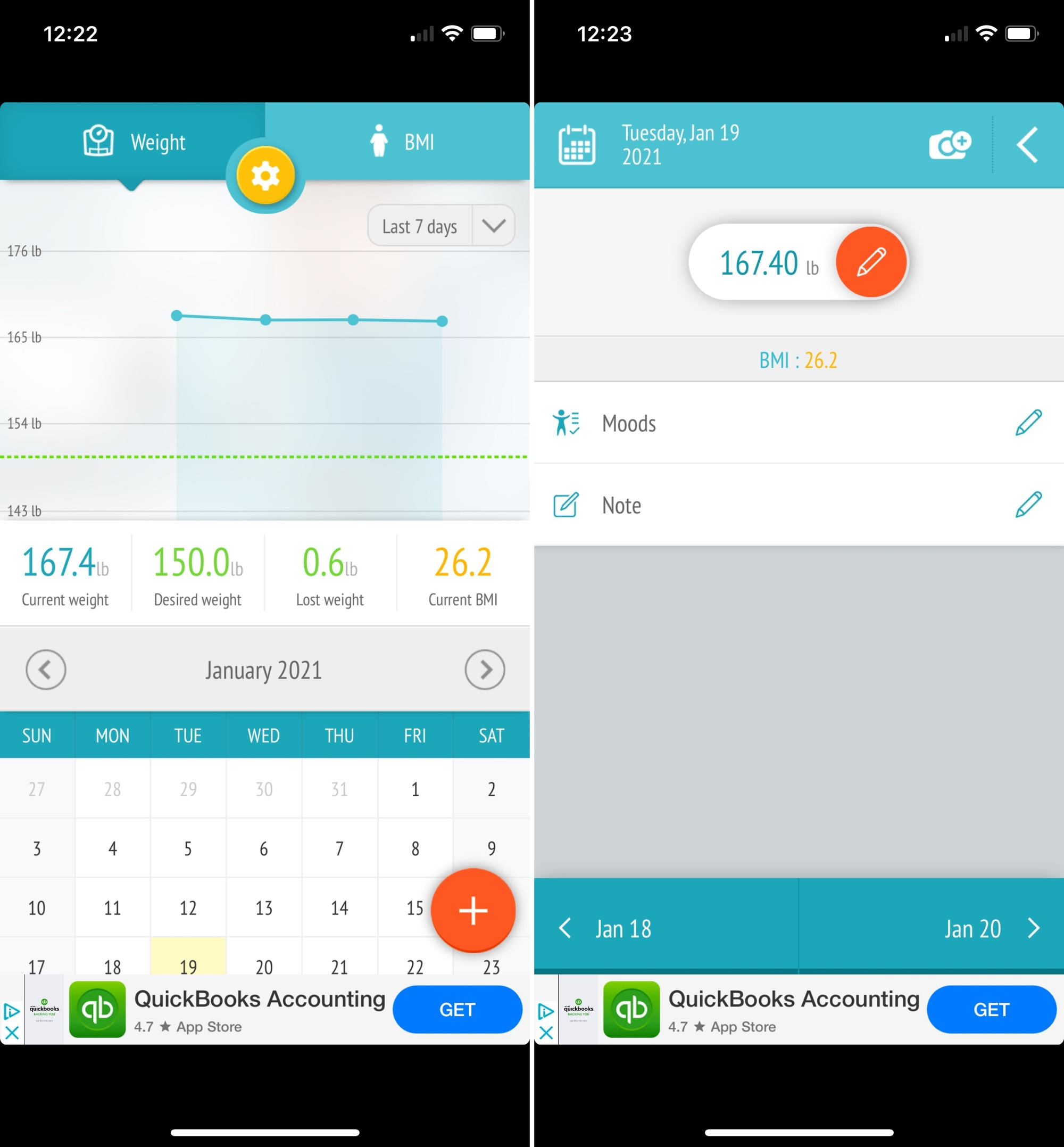 Weight Loss Tracker - BMI on iPhone