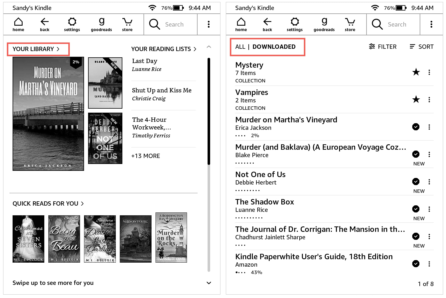 Your Library All and Downloaded on Kindle Paperwhite