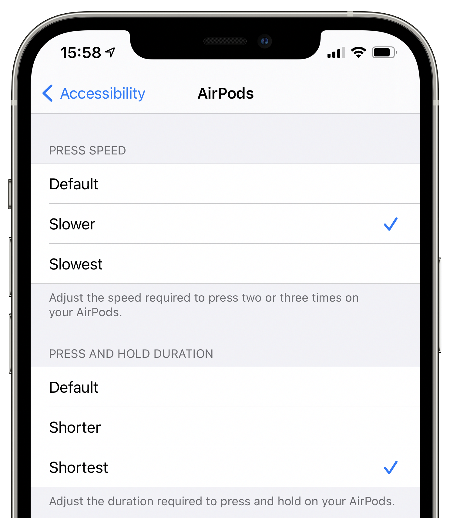 An iPhone screenshot showing customization for button presses in the AirPods accessibility settings