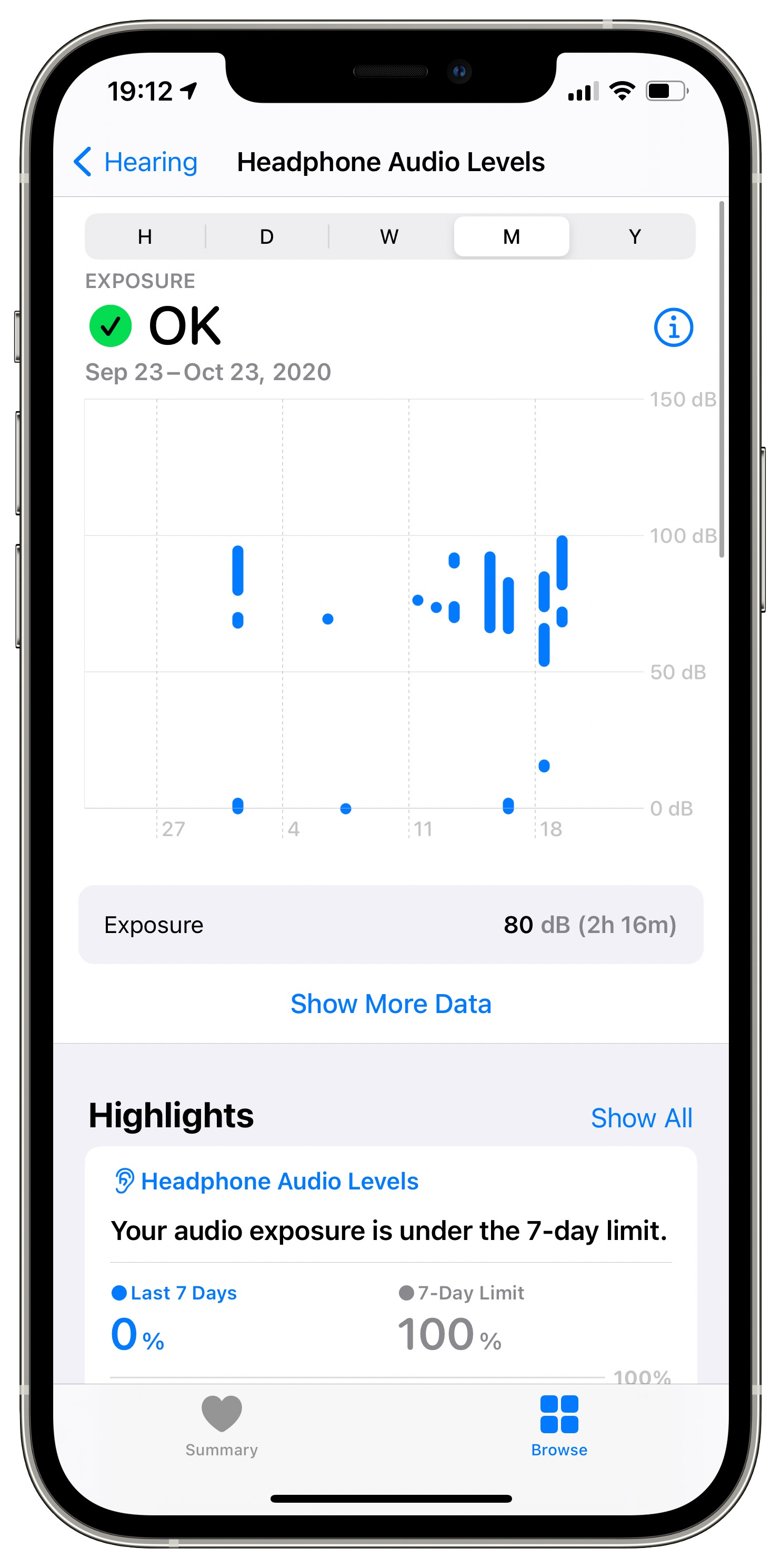 The Health app on iOS 14 with the Headphone Audio Levels screen on iPhone