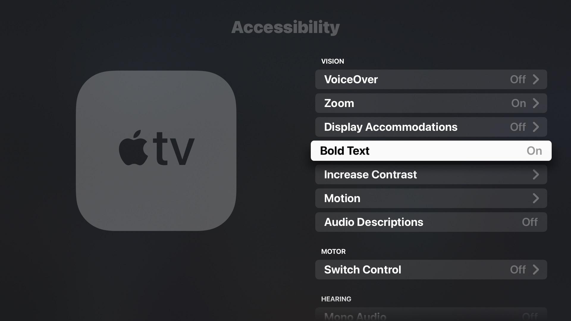 Setting bold text on Apple TV