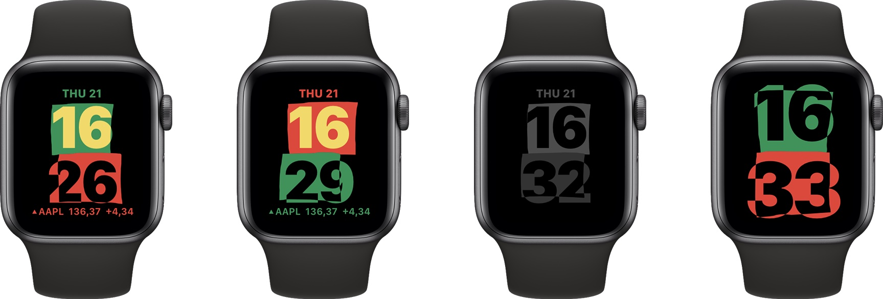 Apple Watch screenshots showing the new Unity watch face, inspired by the colors of the Pan-African flag, that's available with the watchOS 7.3 software