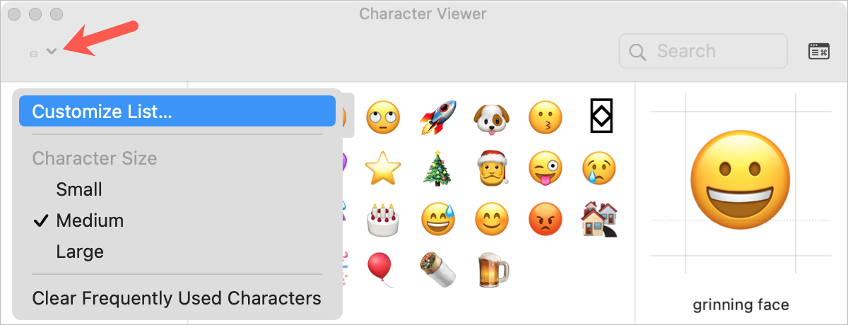 Action Button in Character Viewer on Mac